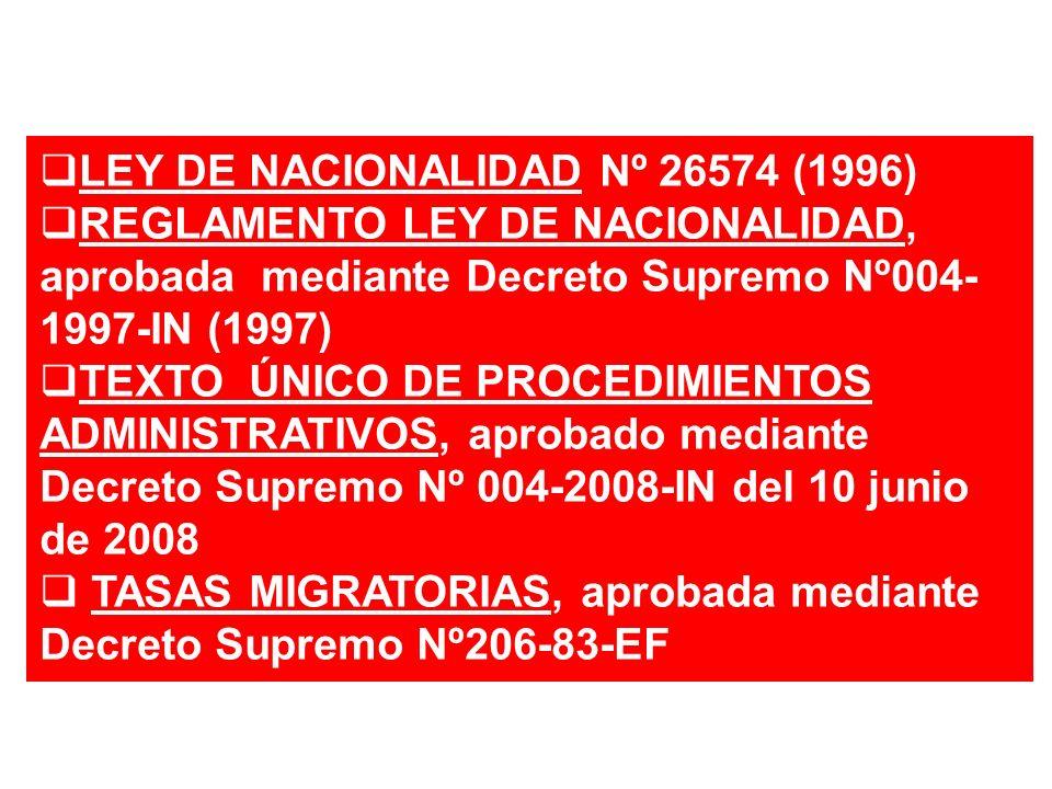 LEY DE NACIONALIDAD Nº 26574 (1996)