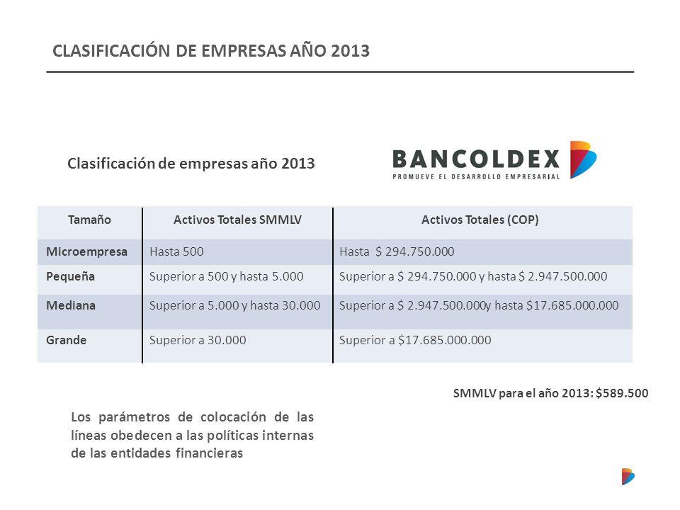 CLASIFICACIÓN DE EMPRESAS AÑO 2013
