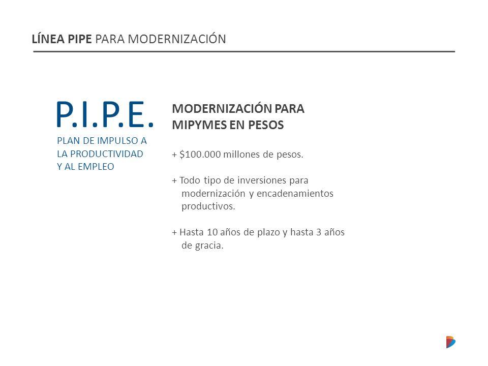 P.I.P.E. LÍNEA PIPE PARA MODERNIZACIÓN