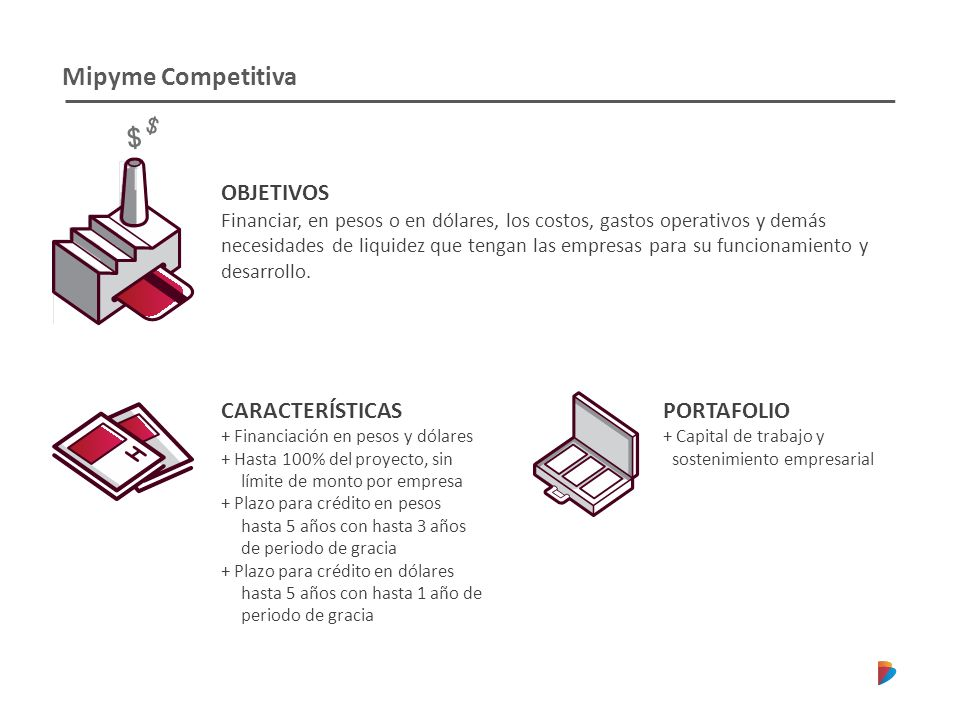 Mipyme Competitiva OBJETIVOS CARACTERÍSTICAS PORTAFOLIO