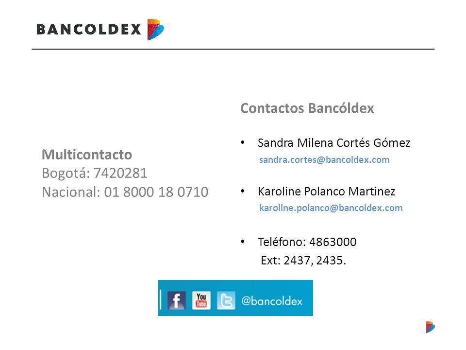 Contactos Bancóldex Multicontacto Bogotá: 7420281