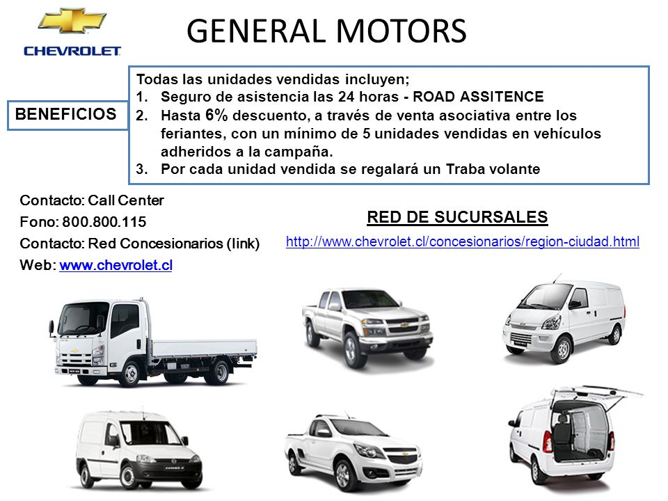 GENERAL MOTORS BENEFICIOS RED DE SUCURSALES