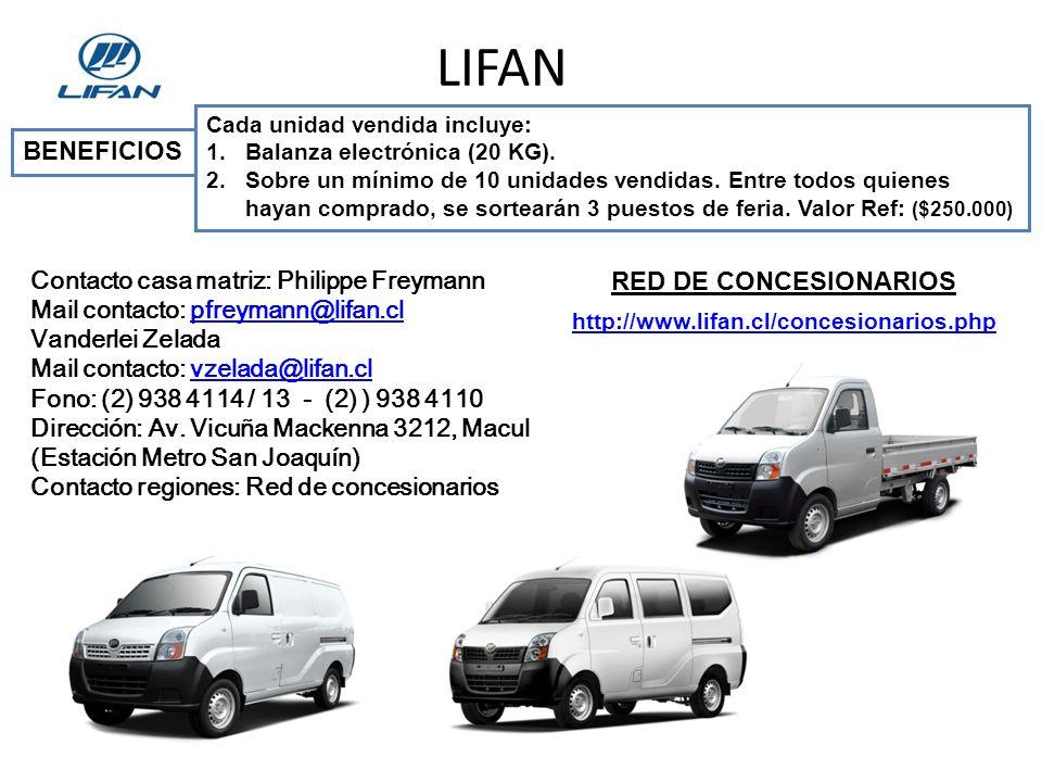 LIFAN BENEFICIOS RED DE CONCESIONARIOS