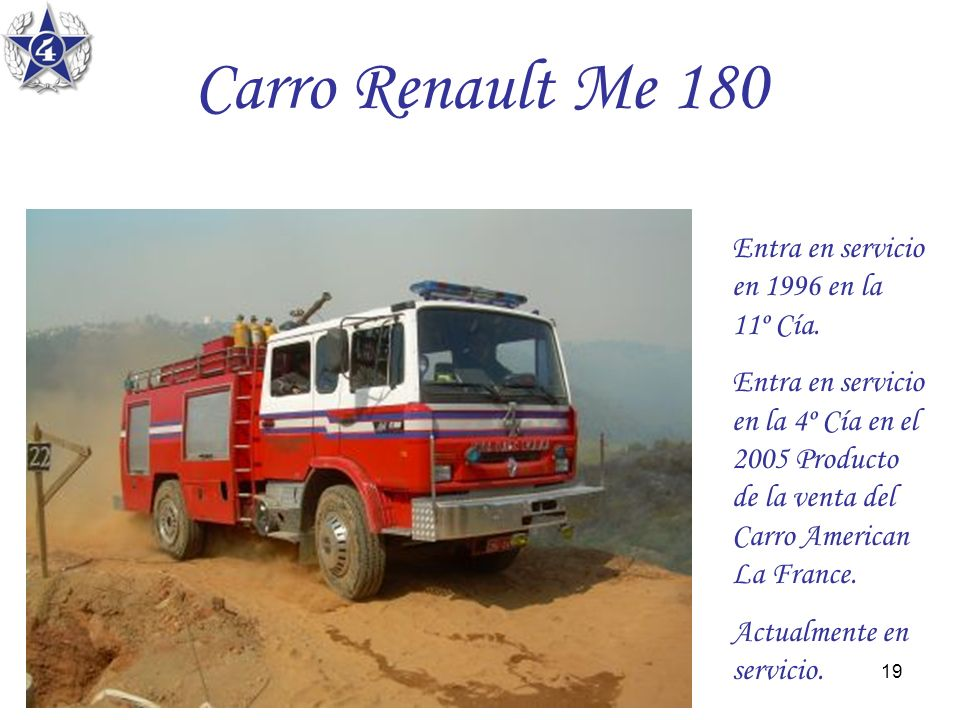 Carro Renault Me 180 Entra en servicio en 1996 en la 11º Cía.