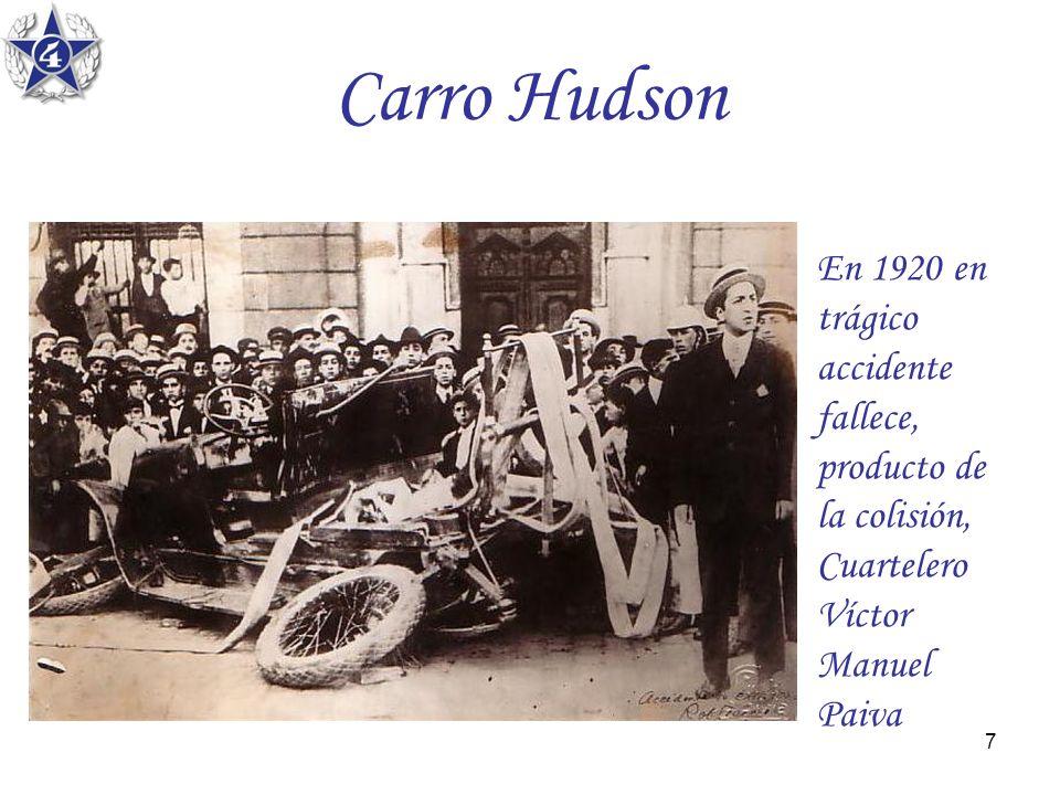 Carro Hudson En 1920 en trágico accidente fallece, producto de la colisión, Cuartelero Víctor Manuel Paiva.