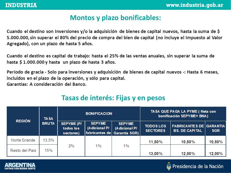 Montos y plazo bonificables: Tasas de interés: Fijas y en pesos