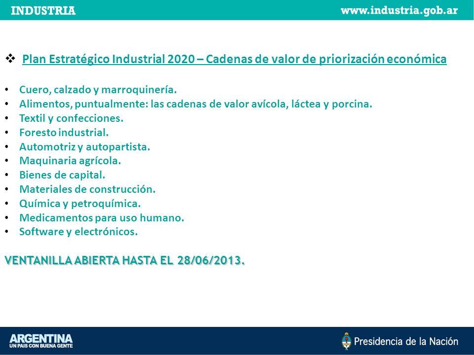 Plan Estratégico Industrial 2020 – Cadenas de valor de priorización económica