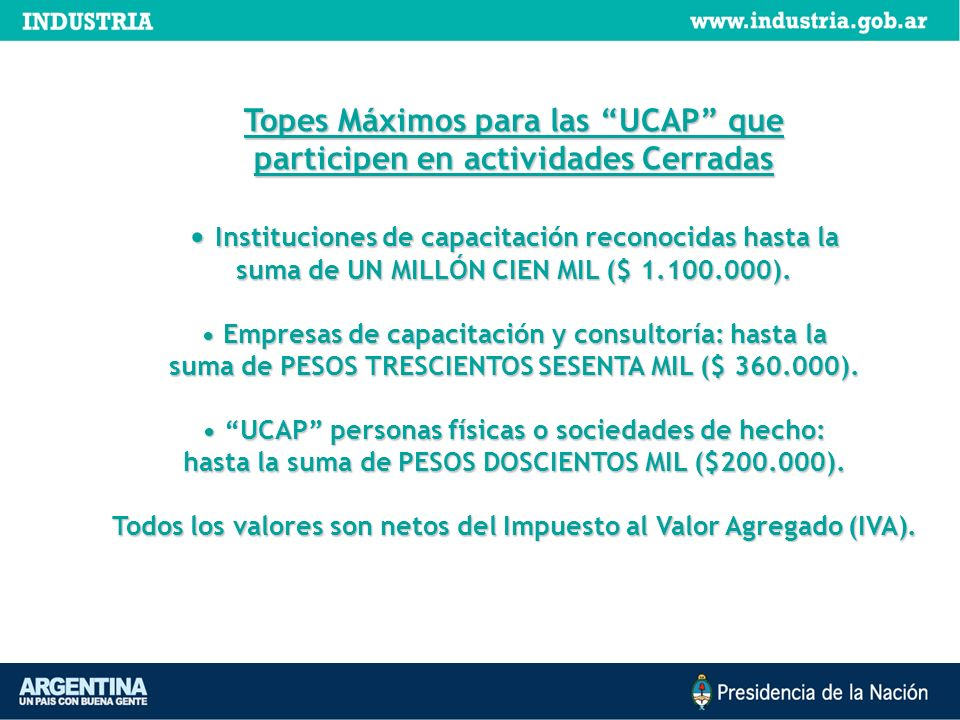 Topes Máximos para las UCAP que participen en actividades Cerradas