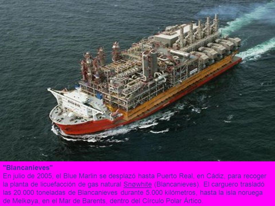 Blancanieves En julio de 2005, el Blue Marlin se desplazó hasta Puerto Real, en Cádiz, para recoger la planta de licuefacción de gas natural Snøwhite (Blancanieves).