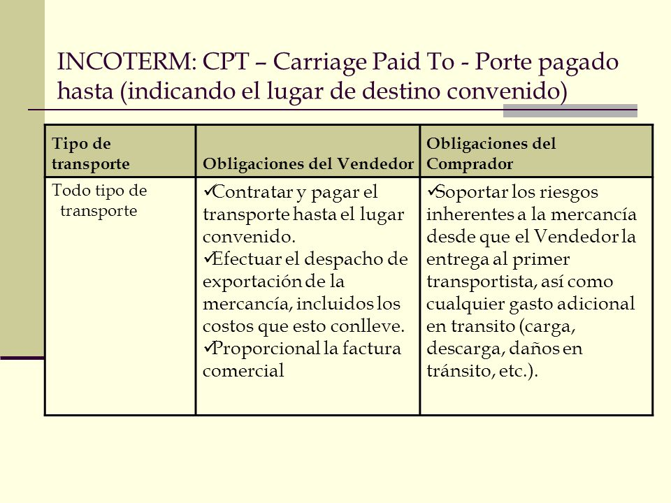 INCOTERM: CPT – Carriage Paid To - Porte pagado hasta (indicando el lugar de destino convenido)