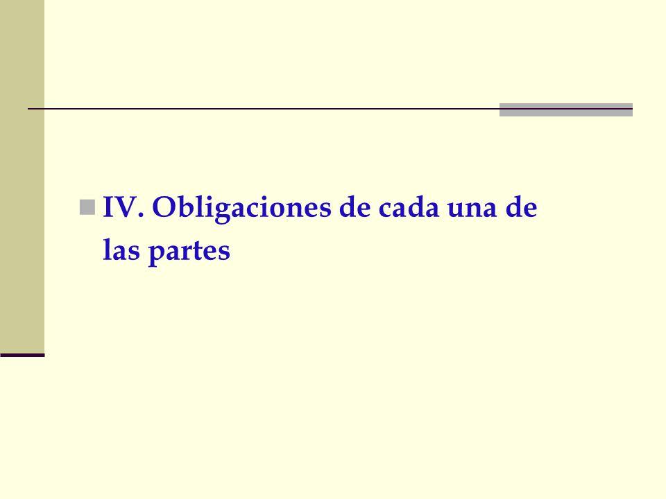 IV. Obligaciones de cada una de las partes