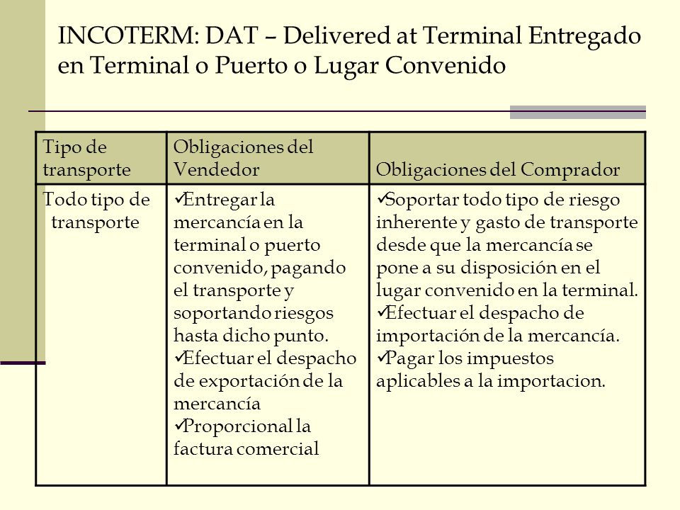 INCOTERM: DAT – Delivered at Terminal Entregado en Terminal o Puerto o Lugar Convenido