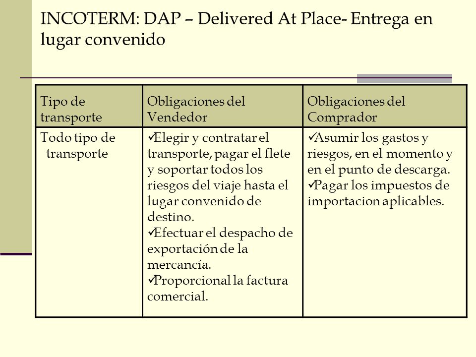 INCOTERM: DAP – Delivered At Place- Entrega en lugar convenido