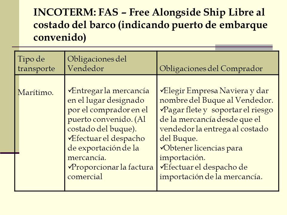 INCOTERM: FAS – Free Alongside Ship Libre al costado del barco (indicando puerto de embarque convenido)