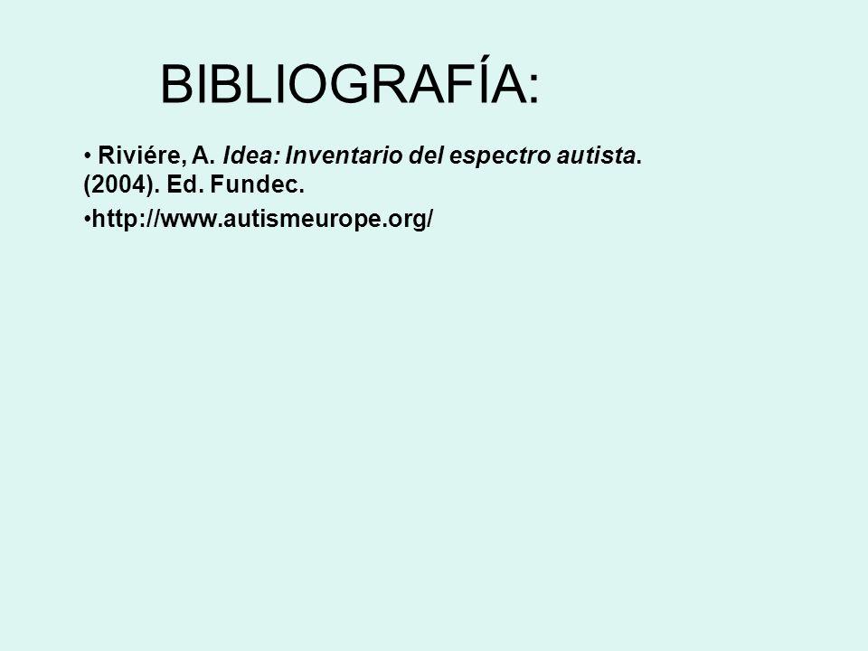 BIBLIOGRAFÍA: Riviére, A. Idea: Inventario del espectro autista. (2004). Ed. Fundec. http://www.autismeurope.org/