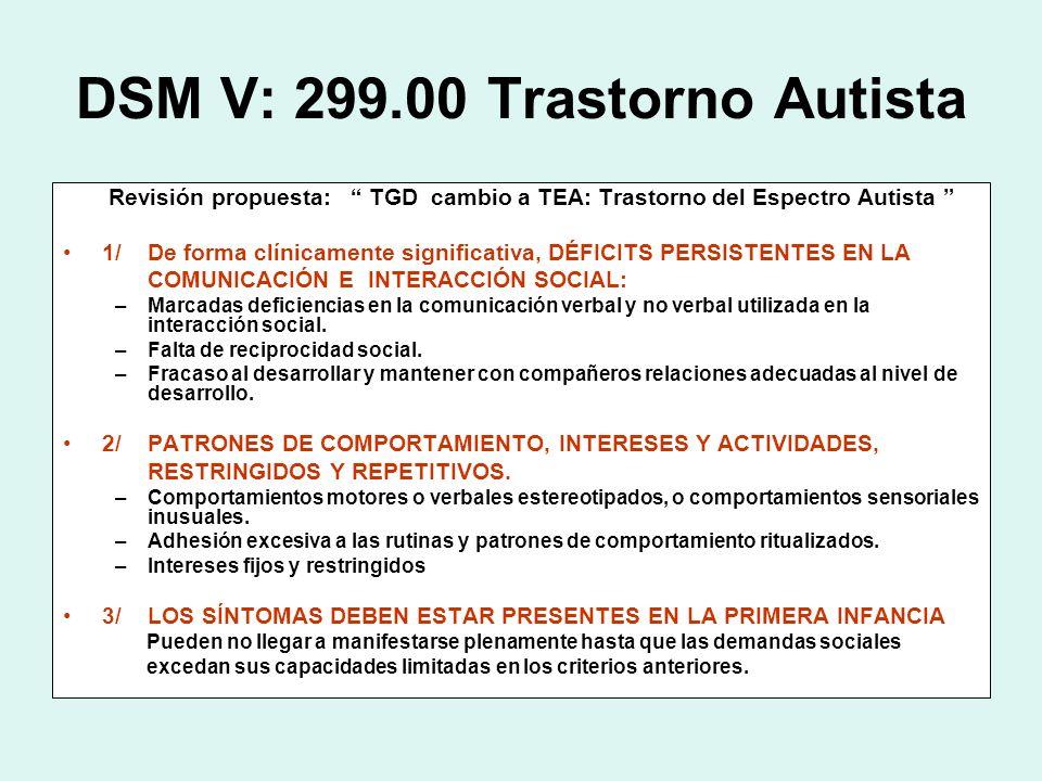 DSM V: 299.00 Trastorno Autista
