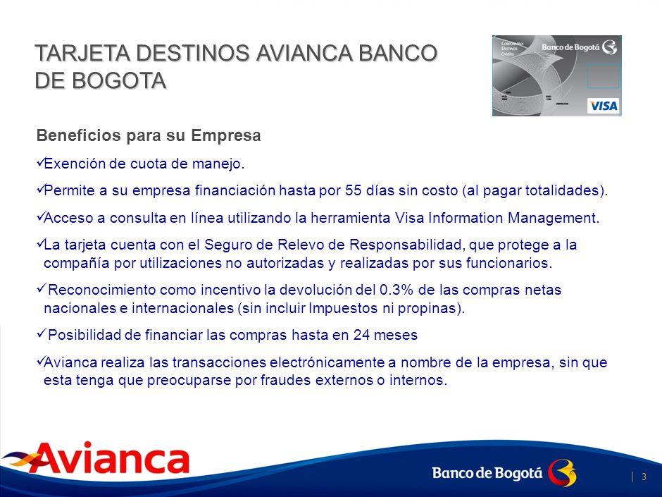 TARJETA DESTINOS AVIANCA BANCO DE BOGOTA