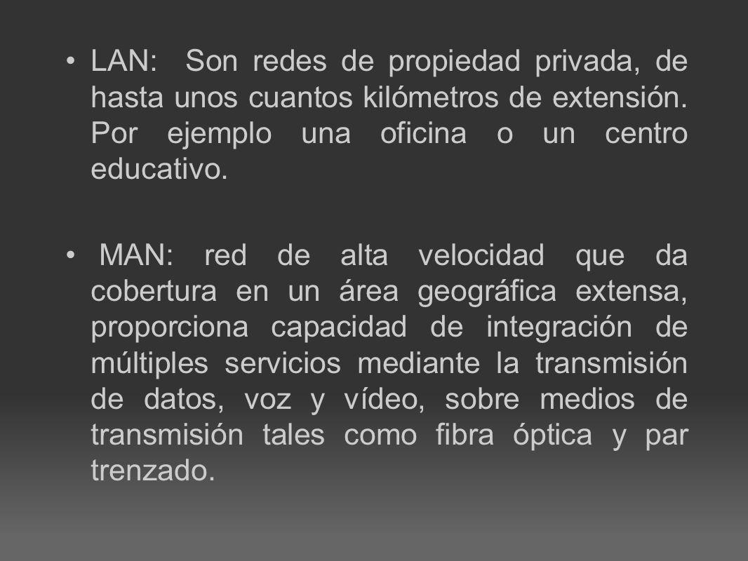 LAN: Son redes de propiedad privada, de hasta unos cuantos kilómetros de extensión. Por ejemplo una oficina o un centro educativo.