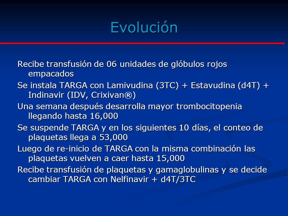 Evolución Recibe transfusión de 06 unidades de glóbulos rojos empacados.