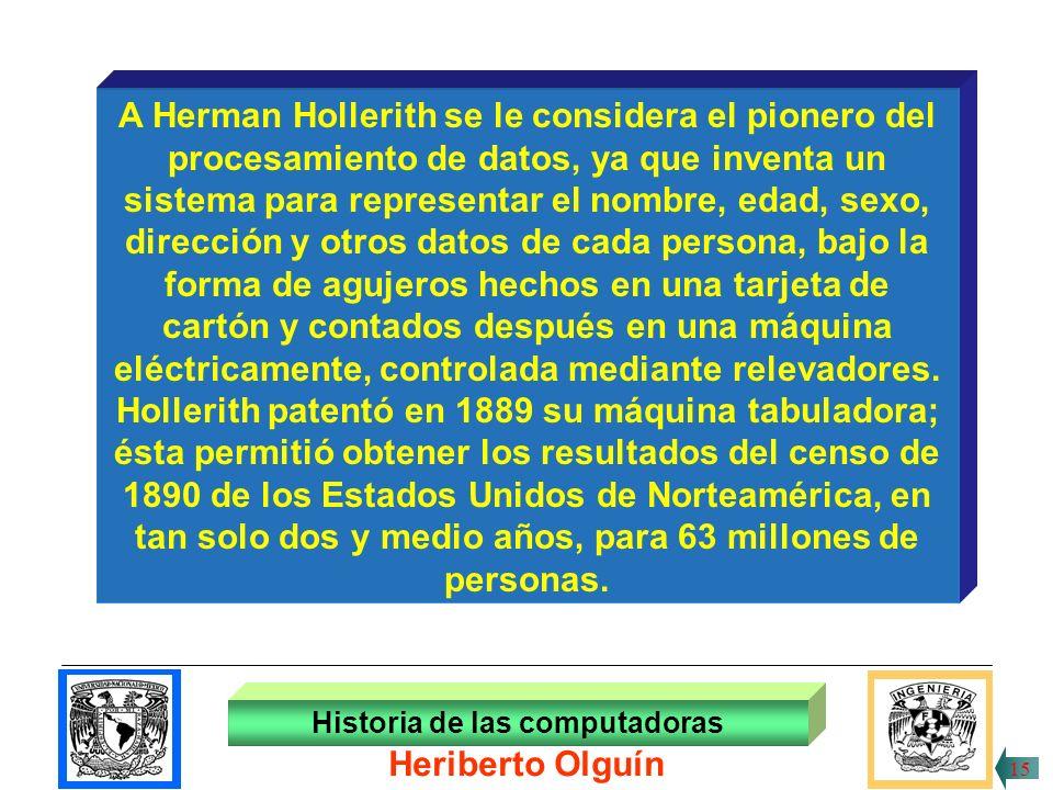 A Herman Hollerith se le considera el pionero del
