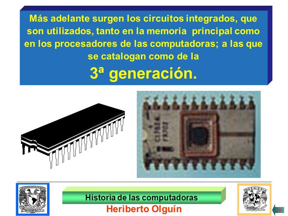 3ª generación. Más adelante surgen los circuitos integrados, que