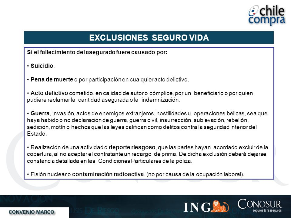 EXCLUSIONES SEGURO VIDA