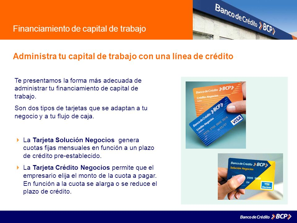 Financiamiento de capital de trabajo