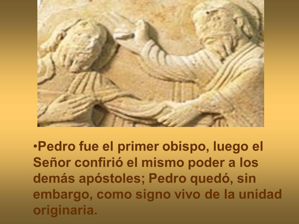 Pedro fue el primer obispo, luego el Señor confirió el mismo poder a los demás apóstoles; Pedro quedó, sin embargo, como signo vivo de la unidad originaria.