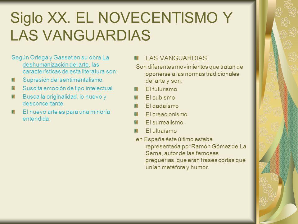 Siglo XX. EL NOVECENTISMO Y LAS VANGUARDIAS