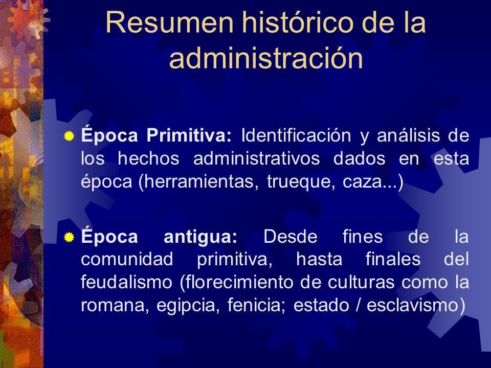Resumen histórico de la administración