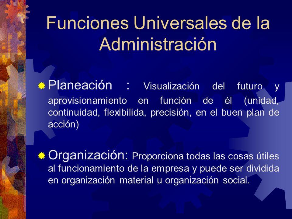 Funciones Universales de la Administración