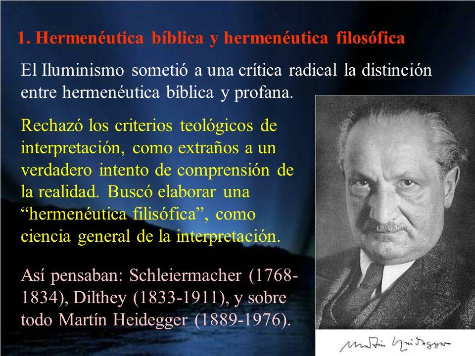 1. Hermenéutica bíblica y hermenéutica filosófica