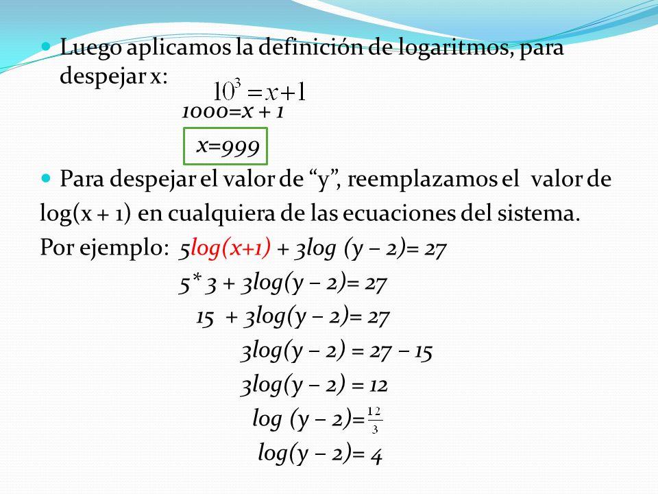 Luego aplicamos la definición de logaritmos, para despejar x: