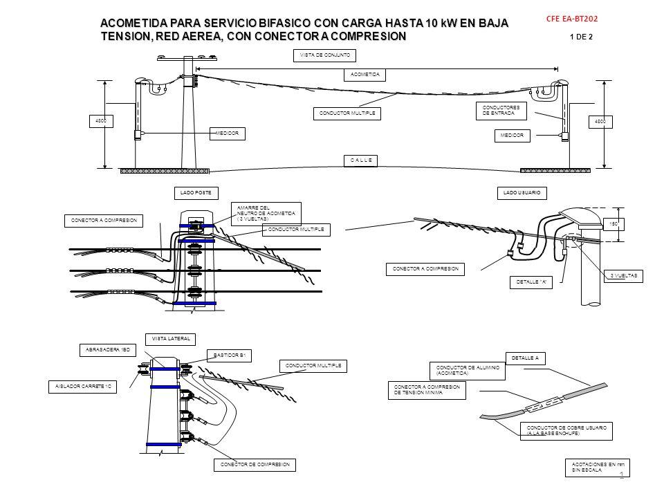 ACOMETIDA PARA SERVICIO BIFASICO CON CARGA HASTA 10 kW EN BAJA TENSION, RED AEREA, CON CONECTOR A COMPRESION
