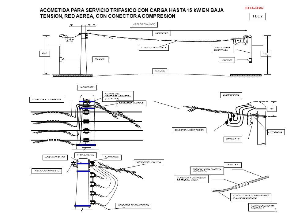 ACOMETIDA PARA SERVICIO TRIFASICO CON CARGA HASTA 15 kW EN BAJA TENSION, RED AEREA, CON CONECTOR A COMPRESION