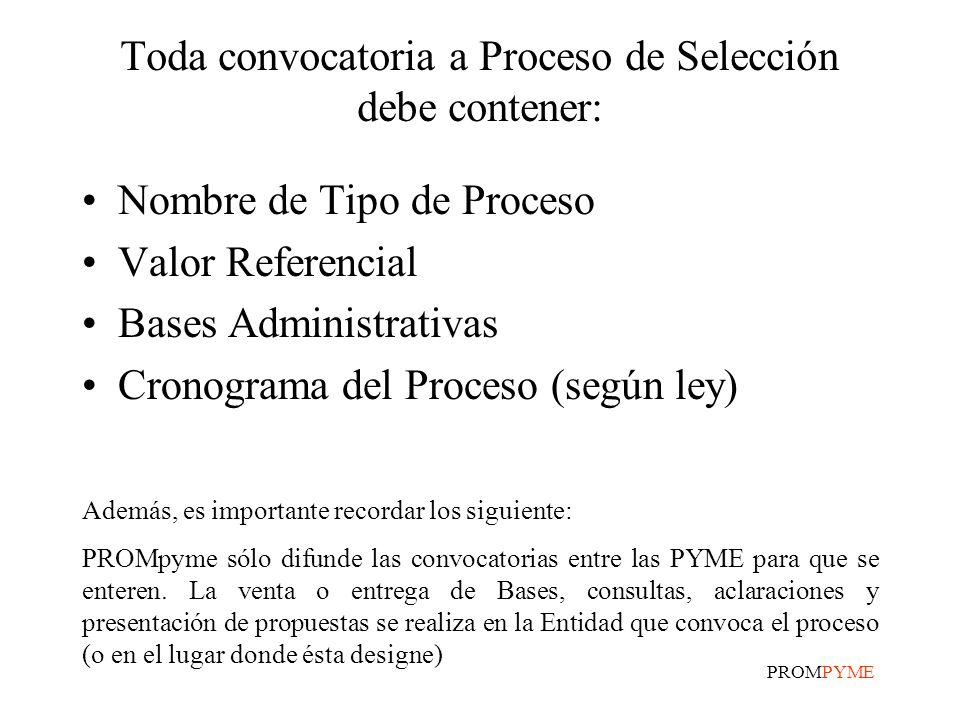 Toda convocatoria a Proceso de Selección debe contener: