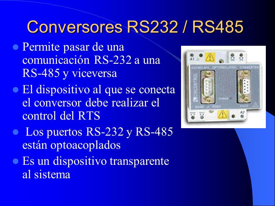 Conversores RS232 / RS485 Permite pasar de una comunicación RS-232 a una RS-485 y viceversa.