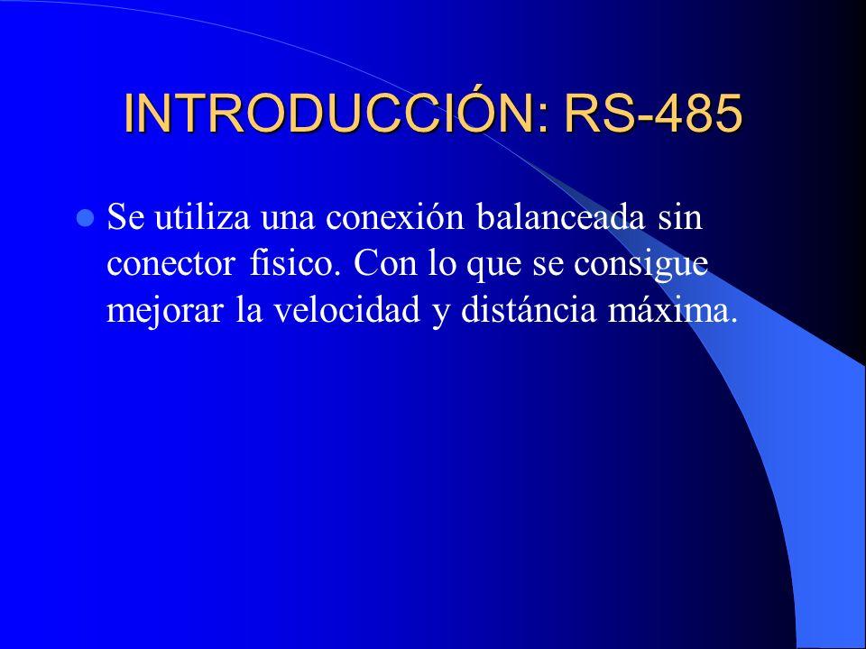 INTRODUCCIÓN: RS-485 Se utiliza una conexión balanceada sin conector fisico.