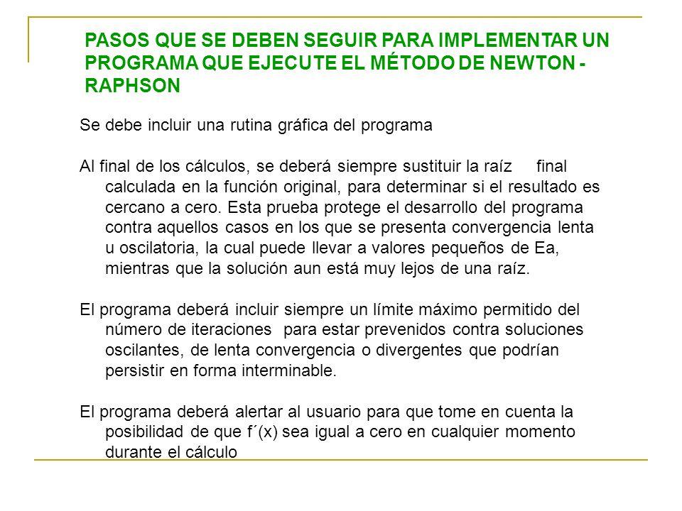 PASOS QUE SE DEBEN SEGUIR PARA IMPLEMENTAR UN PROGRAMA QUE EJECUTE EL MÉTODO DE NEWTON - RAPHSON