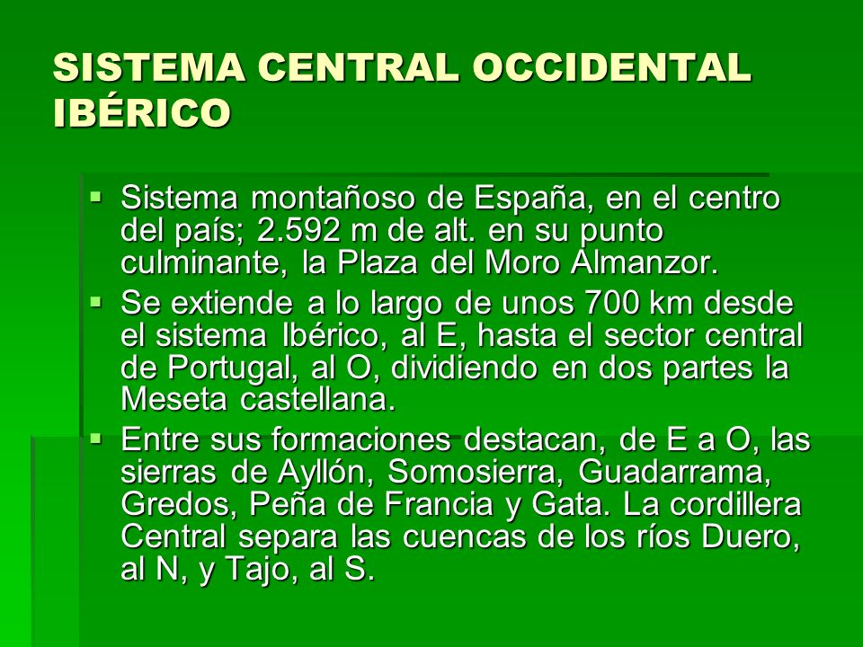 SISTEMA CENTRAL OCCIDENTAL IBÉRICO