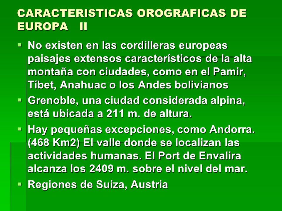 CARACTERISTICAS OROGRAFICAS DE EUROPA II