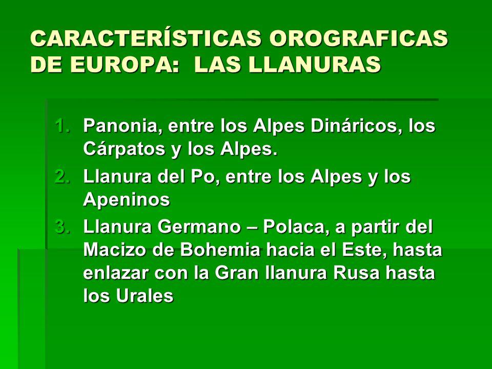 CARACTERÍSTICAS OROGRAFICAS DE EUROPA: LAS LLANURAS