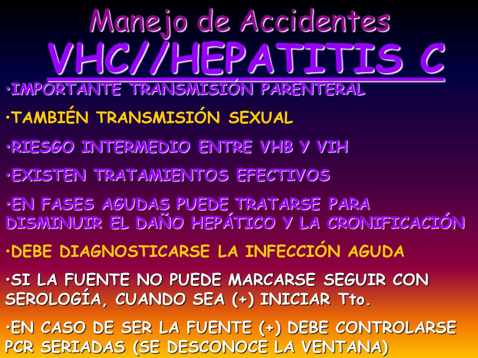 Manejo de Accidentes VHC//HEPATITIS C