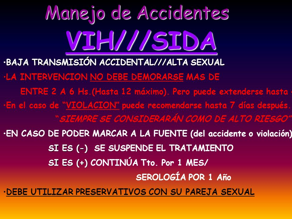VIH///SIDA Manejo de Accidentes