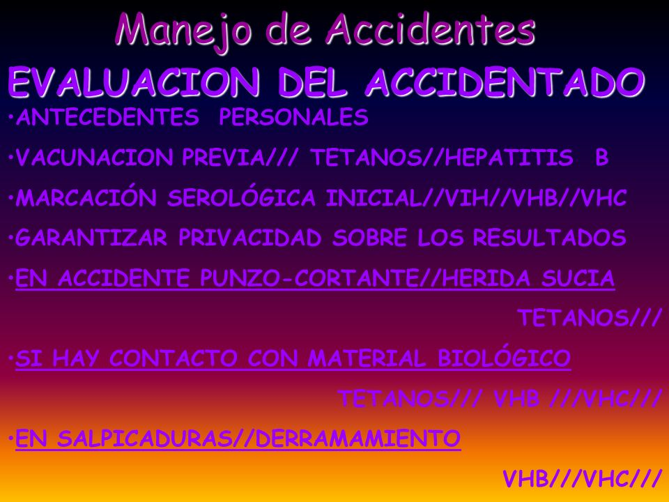 Manejo de Accidentes EVALUACION DEL ACCIDENTADO