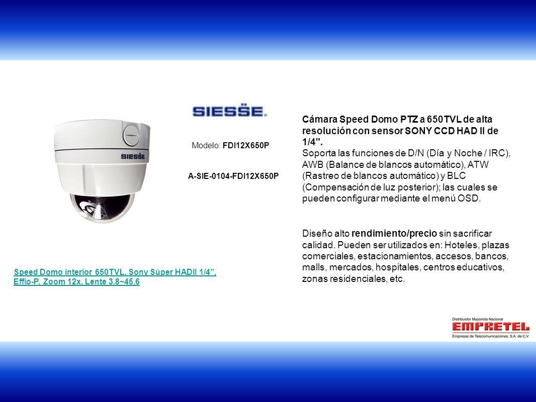 Cámara Speed Domo PTZ a 650TVL de alta resolución con sensor SONY CCD HAD II de 1/4 .