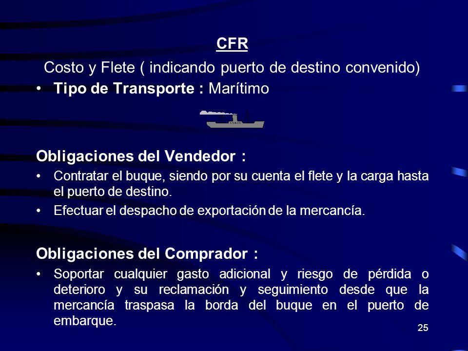 Costo y Flete ( indicando puerto de destino convenido)