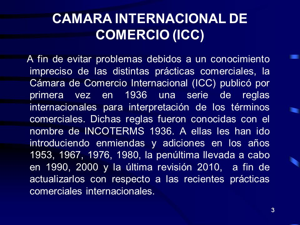 CAMARA INTERNACIONAL DE COMERCIO (ICC)