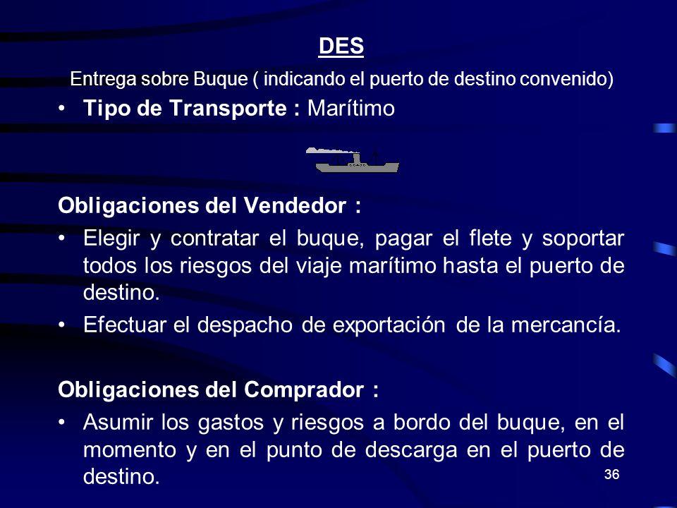Entrega sobre Buque ( indicando el puerto de destino convenido)