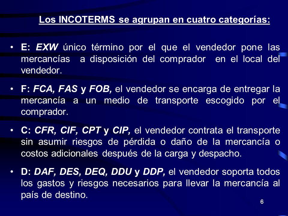 Los INCOTERMS se agrupan en cuatro categorías:
